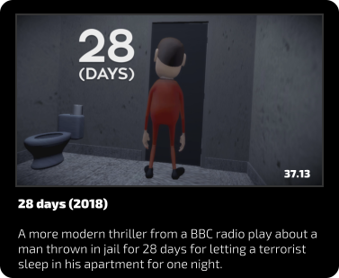 28 days (2018)  A more modern thriller from a BBC radio play about a man thrown in jail for 28 days for letting a terrorist sleep in his apartment for one night. 37.13
