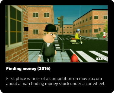 Finding money (2016)  First place winner of a competition on muvizu.com about a man finding money stuck under a car wheel. 03.00